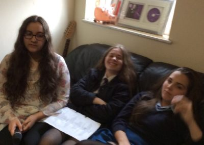 Charlotte, Chloe & Zoe waiting to record GCSE ensembles